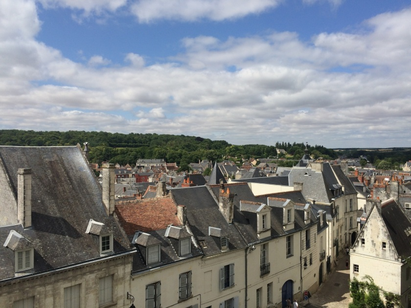 rooftops leading down to the top of our street in Loches