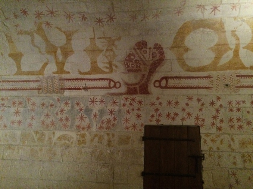 Ludovico Sforza's dungeon cell, adorned with the paintings he did on the walls.