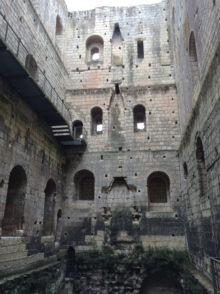 You can see where each of the levels of the keep once was, with fireplaces and many windows on each floor.