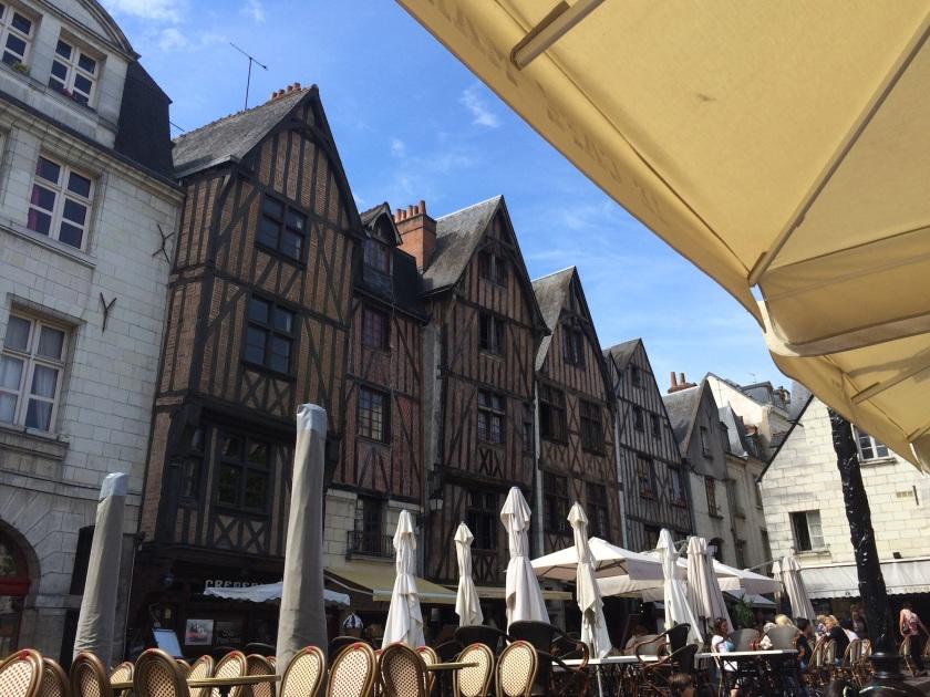 La vieille ville in Tours, medieval buildings surrounding the square.