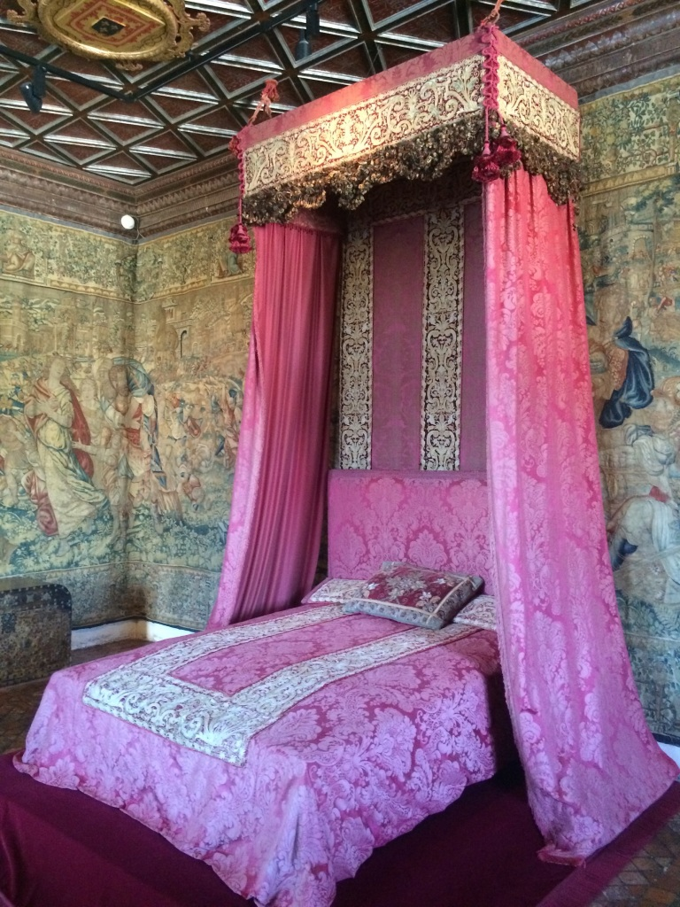 The Five Queens' bedroom, named for Catherine de' Medici's two daughters and three daughters-in-law.