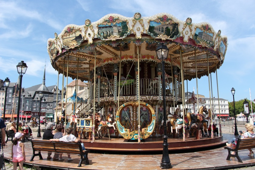 The ubiquitous french carousel, at the inner harbour in Honfleur.