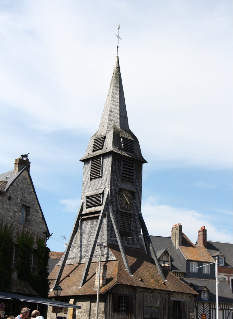Clock tower, Saint-Catherine's Church, largest wooden church in France.