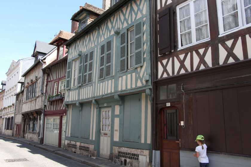 Medieval timbered homes in many colours, Honfleur.