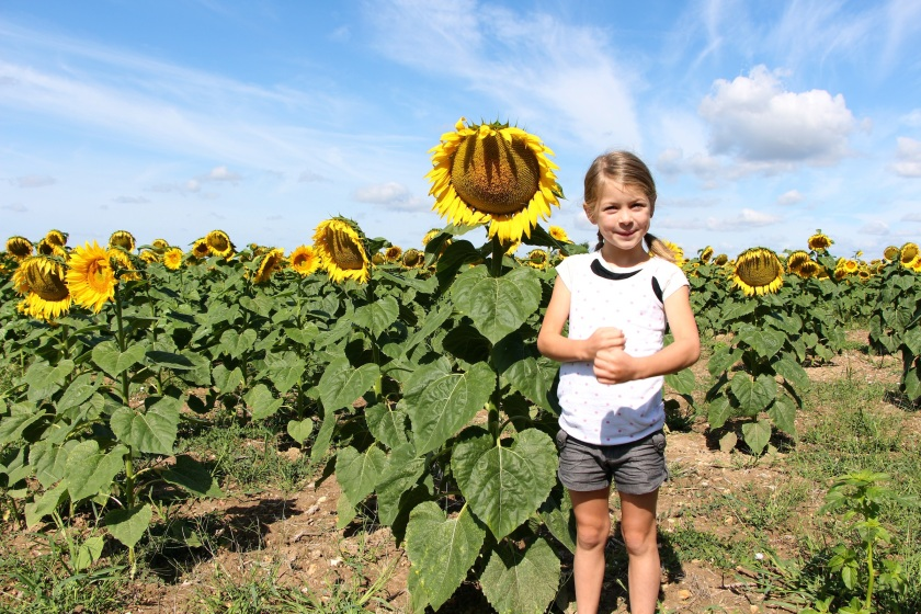 dani stands with sunflower