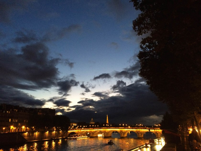 Our first glimpse of the twinkling Eiffel Tower and Pont Neuf.