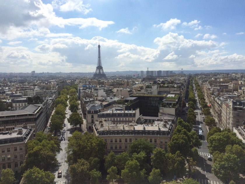 The views from l'Arc de Triomphe were spectacular. This seemed to satisfy Oliver, as my big Mom-fail (according to him) was not buying tickets to go up the Eiffel Tower early enough, and they were sold out. No way we were waiting in the 2-hour lines. Next time I'll buy early!