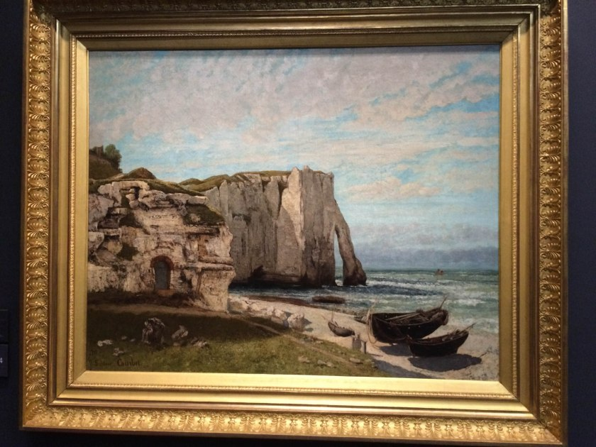 Oliver preferred Gustave Courbet's Étretat, with it's more vivid colours and prominent details on the rocky cliffs.