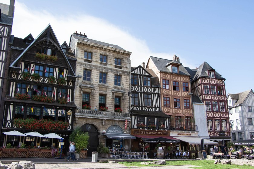 Typical medieval timbered homes + cafés in Rouen.