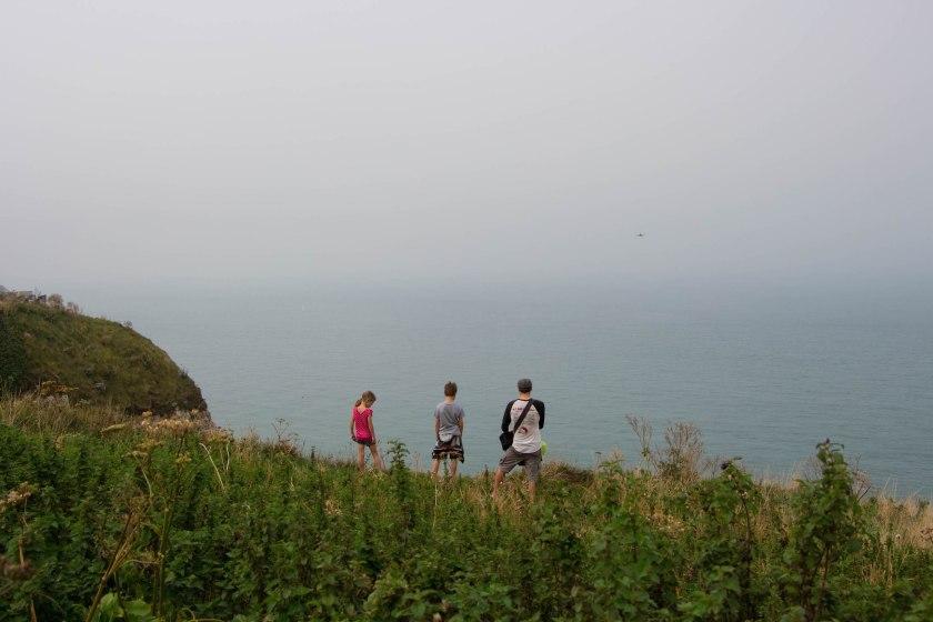 derek and kids, edge of cliff