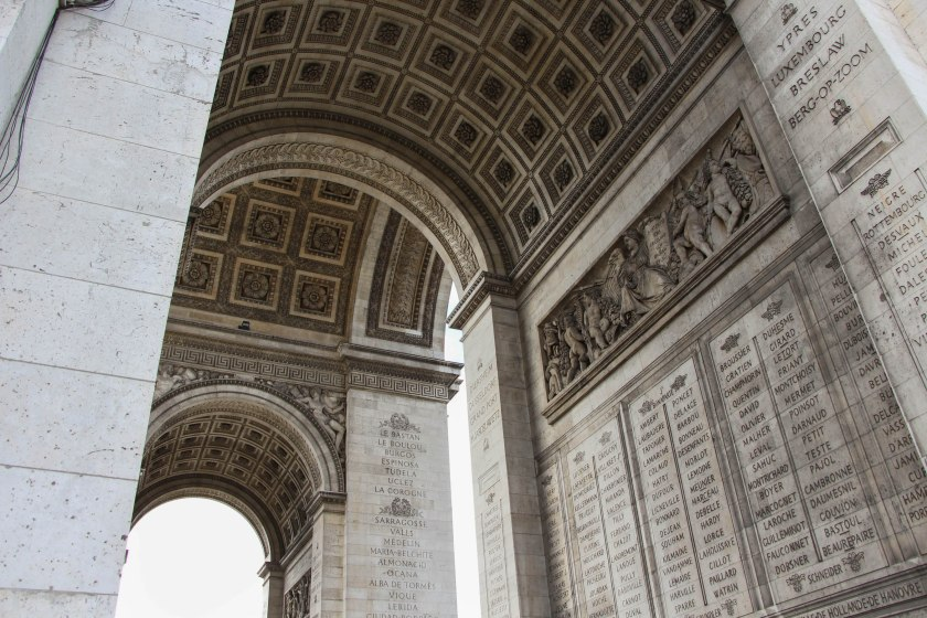 Under l'Arc de Triomphe. Beautiful lines and stonework.