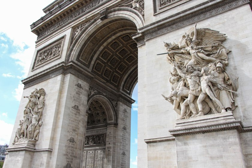 The sculptures on the front of l'Arc de Triomphe.