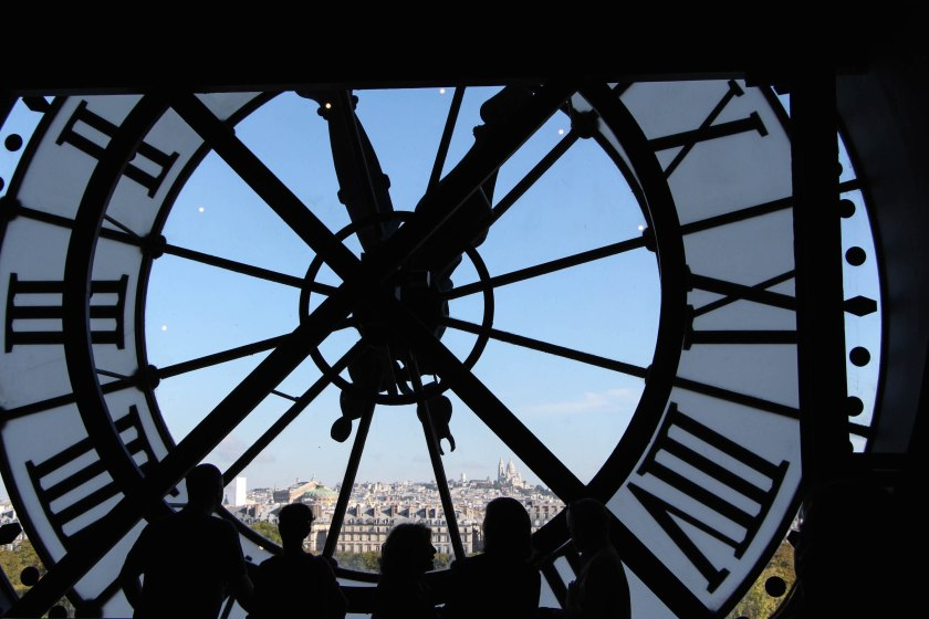 Requisite shot from inside the giant clock in the d'Orsay. It was a beautiful clear day, so we had a great view of l'Opéra Nationale and the Sacré-Coeur.