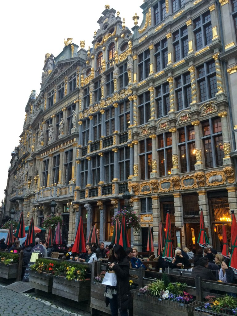 Lavish golden buildings in Grande Place in Brussels.