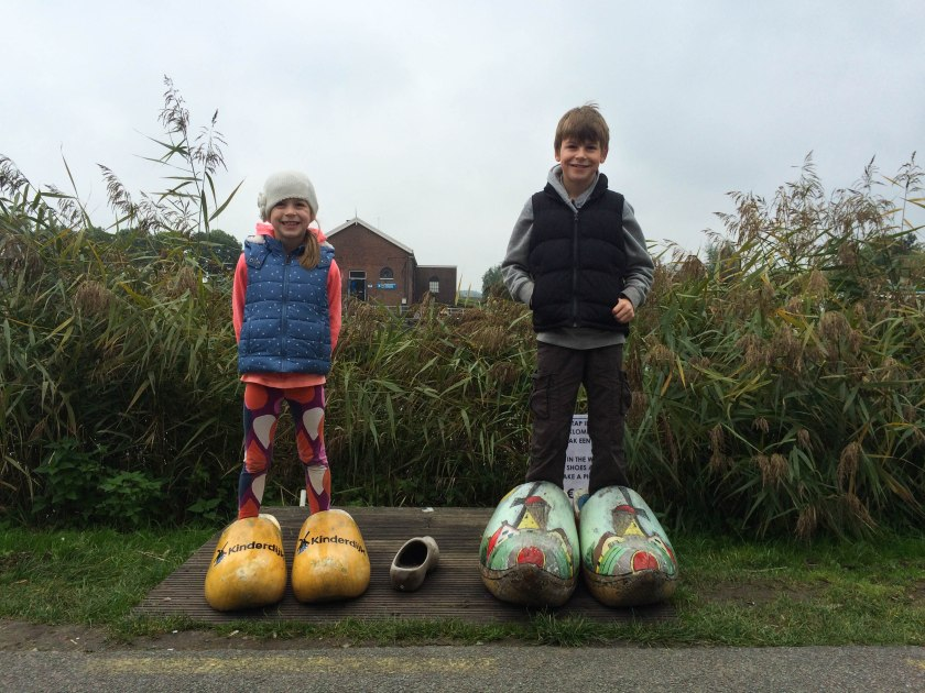 posing in their giant clogs!