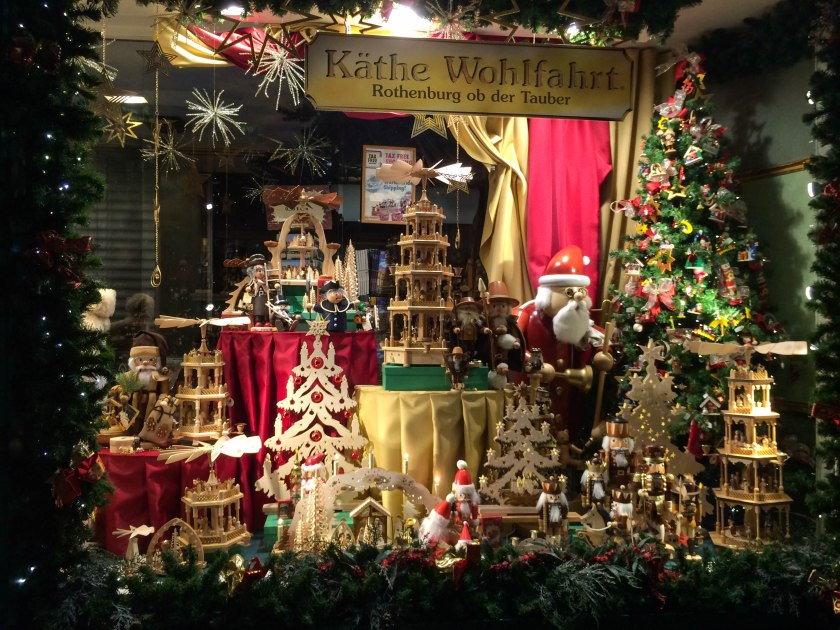 Magical windows in this German Christmas shop.