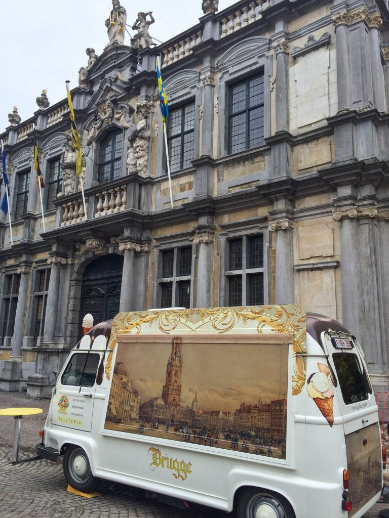 Even the ice cream trucks are charming in Bruges, unsurprisingly!