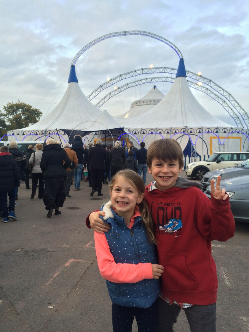 kids outside circus