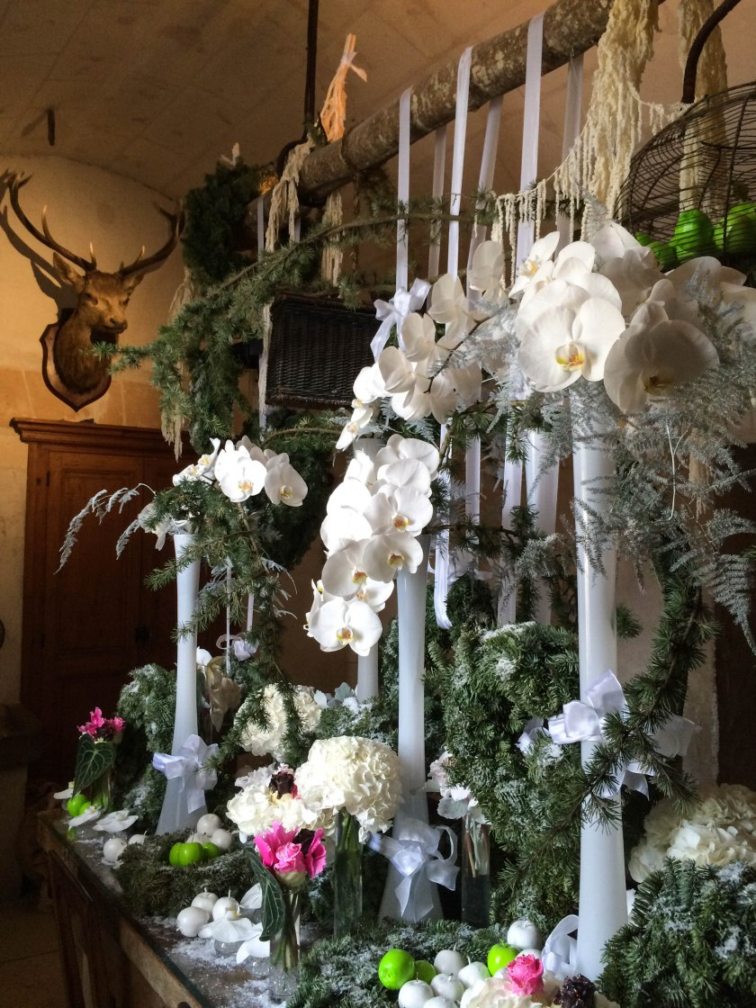 pine and orchids in the servants dining room