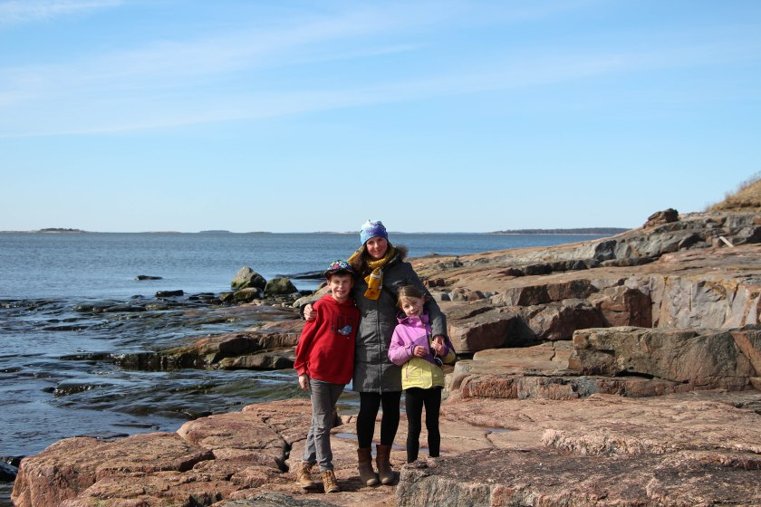 me and kids on rocks at suomenlinna