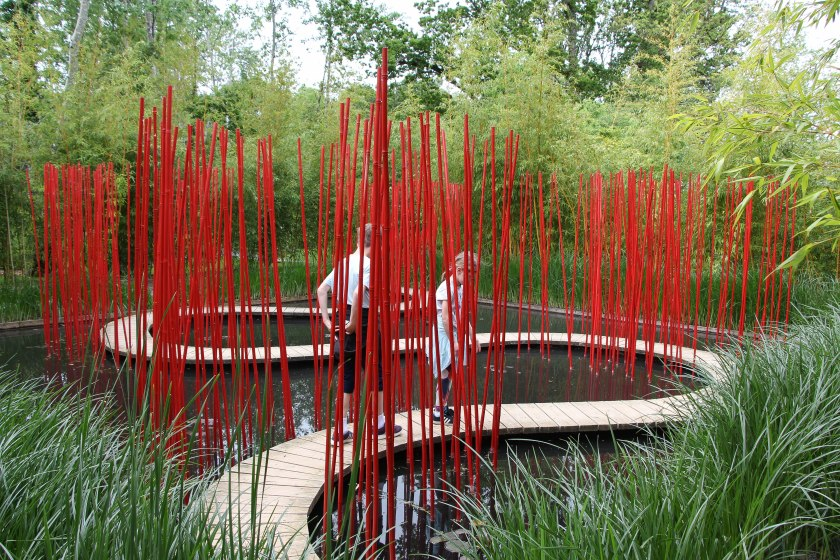 red bamboo pond path