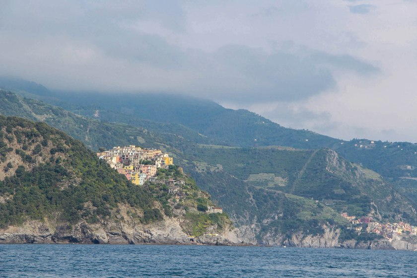 Corniglia from water, Manarola behind