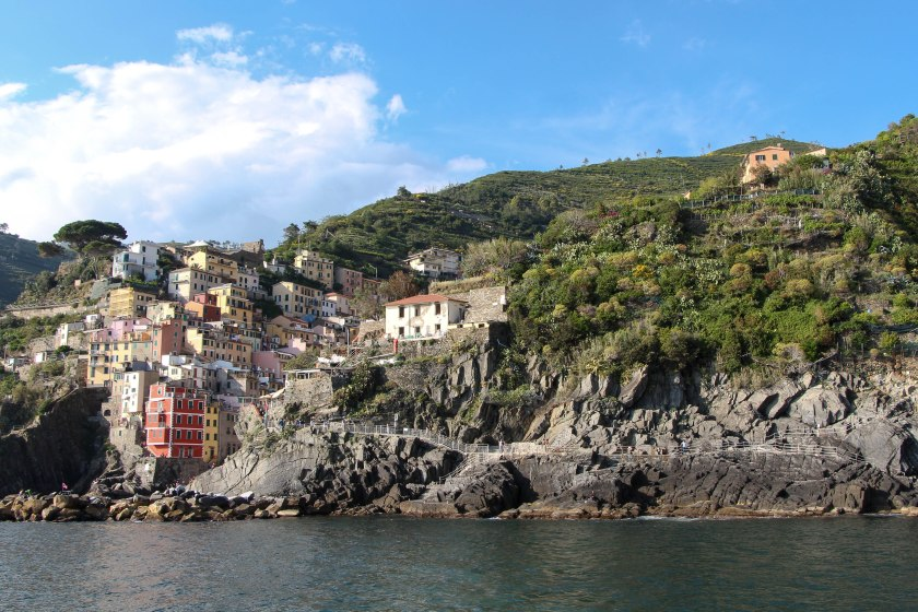 Riomaggiore from water sunny afternoon