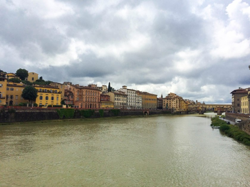 the arno, ponte vecchio in background